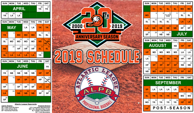 2019 schedule announced